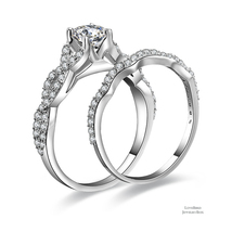0.56 ct Round Cut Infinty 925 Sterling Silver Cubic Zirconia Engagement Ring Set - $53.20