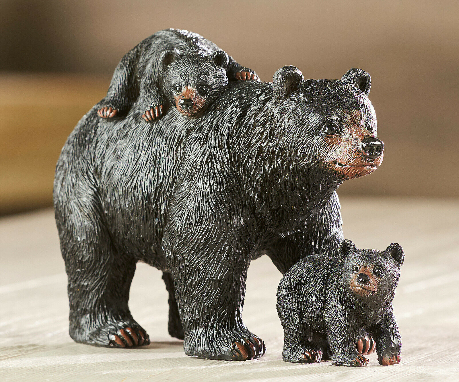 "4"" Black Bear Family Figurine -  Mother Black Bear & Two Cubs Poly Resin"