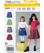 Simplicity 1290 Girls Skirt Set Childrens Easy Sewing Pattern Kids Sizes... - $6.25