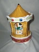 Vintage Mid Century Porcelain Schmid Music Box  Carousel Waltz Inside Tu... - $45.00