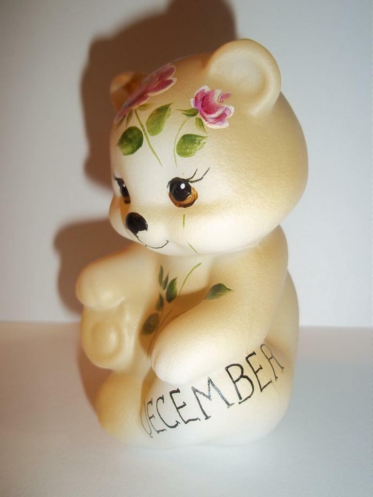 Fenton Glass December Birthday Dark Pink Rose BEAR Figurine GSE K Barley #4