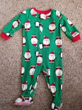 CARTER'S Green Santa and Penguin Fleece Blanket Sleeper Size 12 months - $3.88