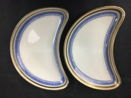 2 Minton Blue And Gold Crescent Plates, England - $15.00