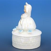 """Vintage Japanese White Pearl Lusterware Bride Trinket Box Figurine 4 3/4"""" Tall image 2"""