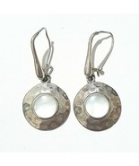 Vintage CFJ Sterling Silver 925 MOP Pearl Hammered Dangle Earrings Free ... - $14.84