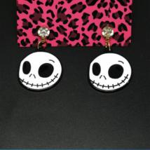Halloween Betsey Johnson White Enamel Ghost Face edged in Black Post Ear... - $5.99
