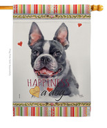 Boston Terrier Happiness - Impressions Decorative House Flag H110159-BO - $40.97