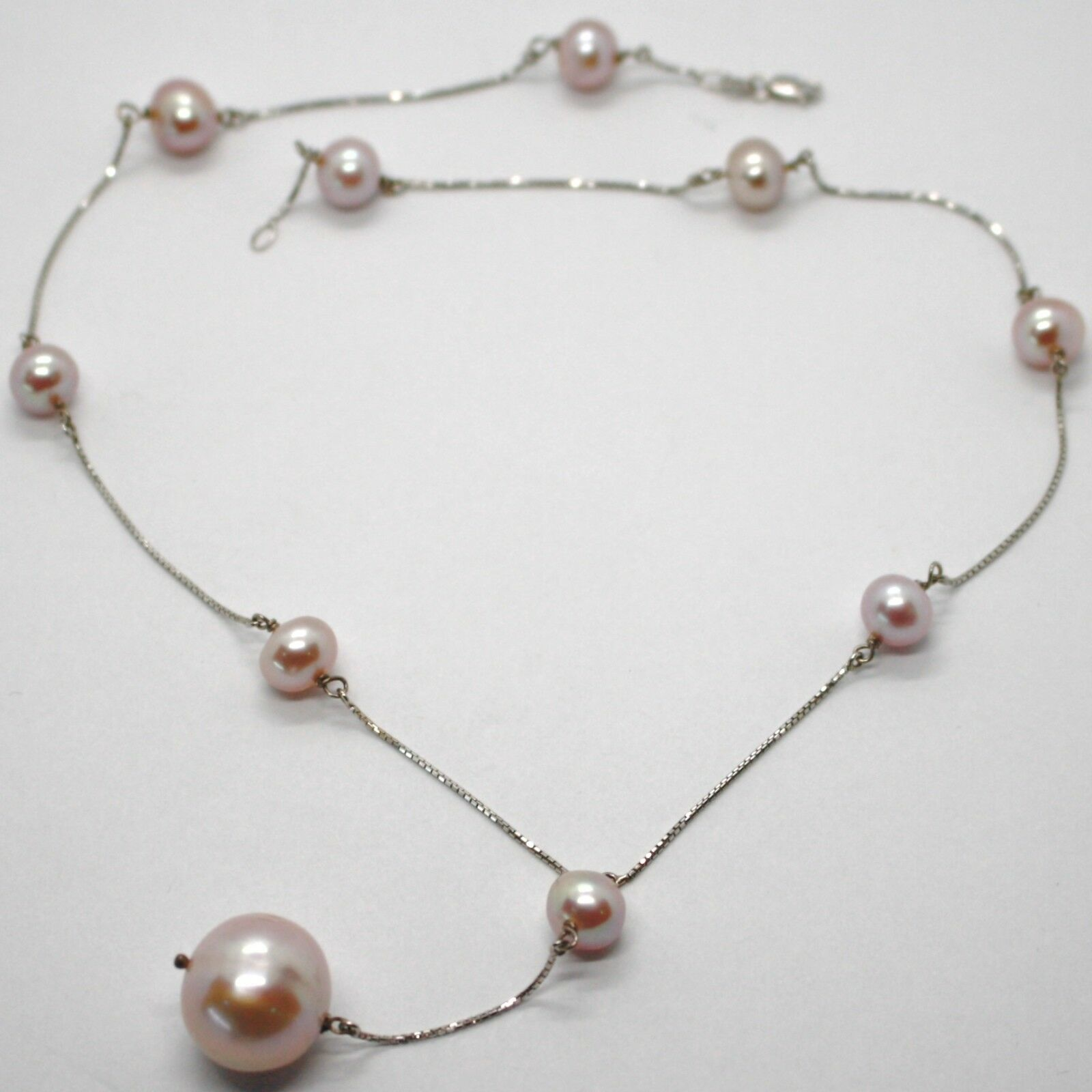 18K WHITE GOLD LARIAT NECKLACE, VENETIAN CHAIN ALTERNATE PURPLE BIG PEARLS 16 MM