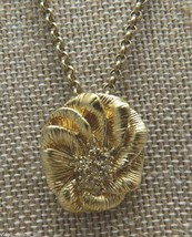 VTG Gold Tone Clear Rhinestone Flower Necklace Signed! - $9.90
