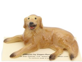 Hagen Renaker Miniature Dog Golden Retriever Lying Ceramic Figurine