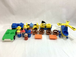 Vtg Little People #2502 Airport Accessories Vehicles Figures Helicopter ... - $29.69