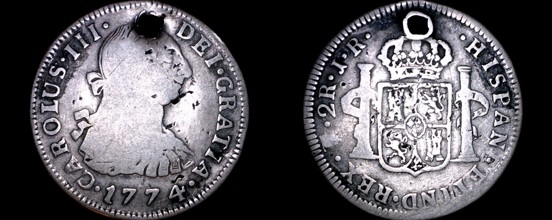 1774-PTS JR Bolivian 2 Reales World Silver Coin - Charles III - Holed - Bolivia