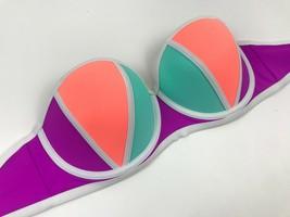 VICTORIA'S SECRET Colorblock PEACH Fuchsia AQUA Bikini TOP Underwire L B... - $23.71