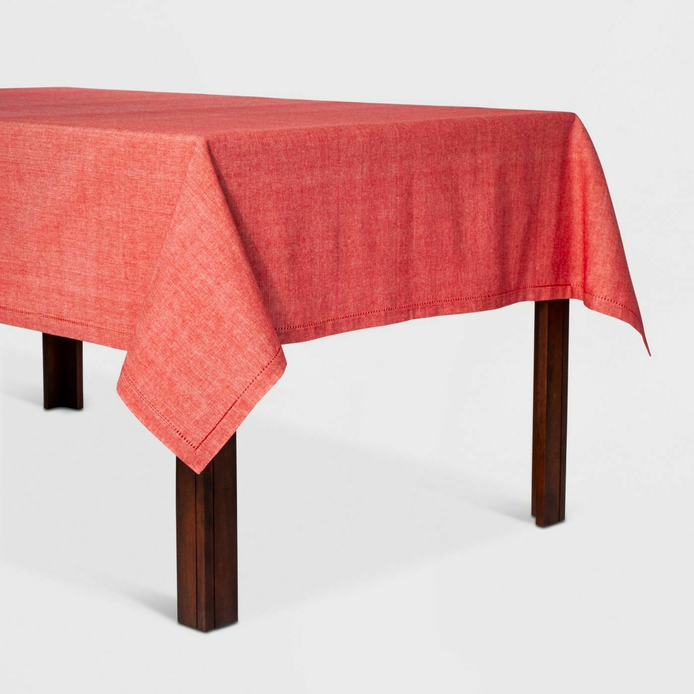 """Threshold Oblong Chambray Hemstitch Tablecloth Red 60 x 84"""""""