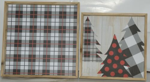 GANZ EX29207L EX29207S Buffalo Plaid and Small Tree Wood Trays Set of 2