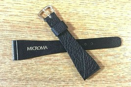 Vintage 22mm  Microma Black Genuine Leather Watch Band NOS - $19.00