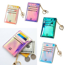 Short Leather ID Credit Card Holder Front Pocket Wallet Coin Purse Keychain - $41.10