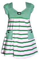 Bonnie Jean Little Girl 2T-4T Green Pink Button Pocket Stripe Knit Dress