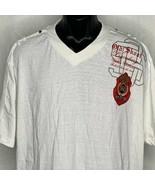 Old Skool Legendary V Neck Short Sleeve T Shirt Mens L White Embroidery ... - $23.20