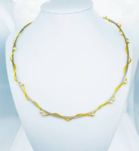 Vintage 14ct White and Yellow Gold Wirework Choker with Seed Pearls - $806.00