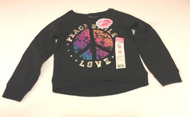 Hanes Sweatshirt Girls Size XS 4-5 HI-lo Hem Crew Neck Black - $10.98