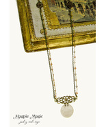 Heritage Drop Necklace:vintage ivory disc,antique brass&gold rosary &cab... - $15.00