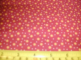 1/2 Yd Andover Fabric Quilt Study center Gold Suns Dots on Red - $5.08