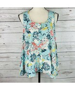 Style & Co Womens Small Top Sleeveless Floral Semi-Sheer Hi-Low Button F... - $24.72