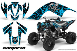 Yamaha Raptor 700 06-12 Graphics Kit Creatorx Decals Samurai Blue Ice Black - $157.09