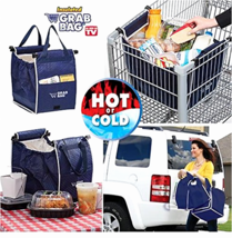 Reusable Shopping Bag Isolates Hot Cold Grocery Grab Bag Easy Clip to Cart - $17.39