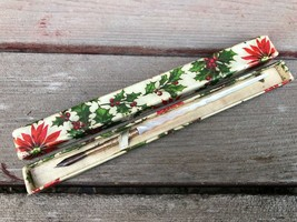 Antique Mother of Pearl Twisted Ink Dip Quill Pen in Christmas Box Victo... - $29.65
