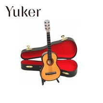 Yuker 1:12 Dollhouse Mini Guitar Miniature Wooden Wood Acoustic Guitar M... - $11.72