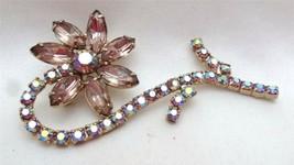 Vintage Juliana Style Silvertone Lavender AB Rhinestone Flower Brooch Pin - $75.00