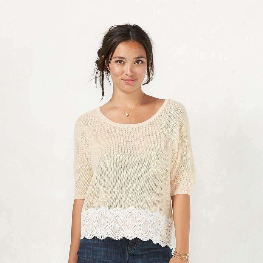 44af84e06c6 LC Lauren Conrad Lace-Hem Crop Sweater Size and 13 similar items