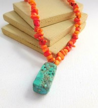 Retro Vintage Coral Chip Bead Raw Turquoise Pendant Choker Necklace I32 - $22.94