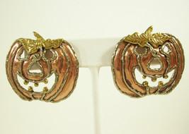 AWESOME PUMPKIN Pierced Earring Metallic Orange Gold SCARY Halloween FAL... - $19.79