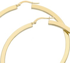 18K YELLOW GOLD CIRCLE EARRINGS DIAMETER 50 MM WITH SQUARE TUBE   MADE IN ITALY image 1