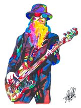 "Dusty Hill, ZZ Top, Bass, Bassist, Vocals, Blues Rock, Music, 18""x24"" Ar... - $19.99"