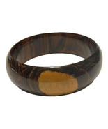 Chunky Multi Colored Brown Wood Bangle Bracelet Boho Light Dark  Natural  Earth - $18.70