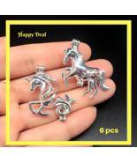6 pcs Pearl Cage Pendant - Gnu Mythical Creature Bright Silver Trendy Fu... - $15.98