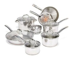 Stainless Steel Pot Set Pans Lid Kitchen Cookware 13 Pieces Copper Induc... - $224.99