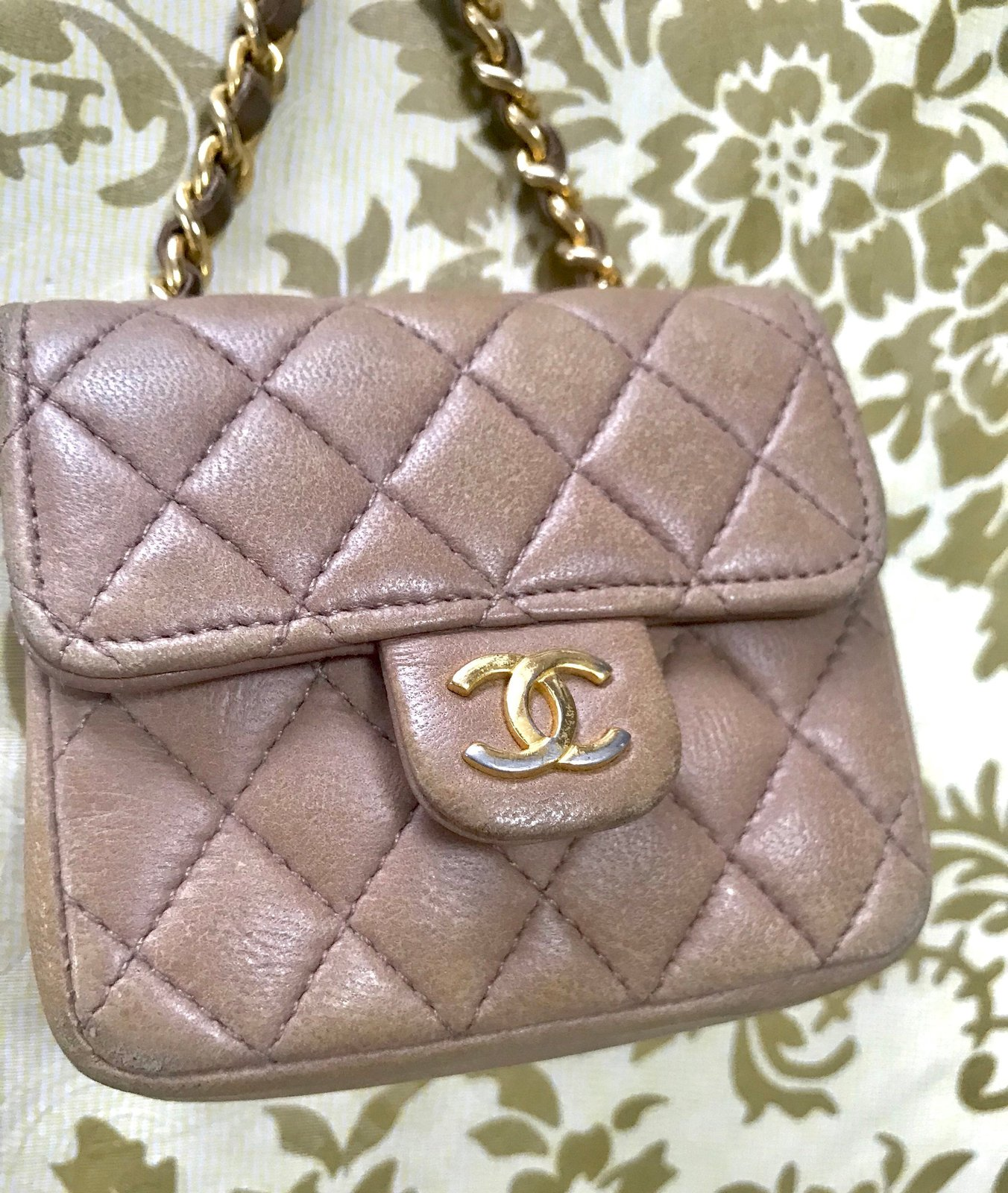 4c2e2675bb45 Vintage CHANEL taupe brown lambskin mini 2.55 bag charm with brown leather  and g