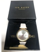 Ted Baker Ava Leather Strap 36mm Gold Tone Silver Dial Women's Watch 100... - $62.88
