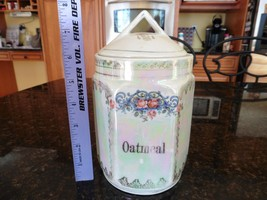 Antique White Block Germany Oatmeal canister jar Lusterware Opalescent P... - $60.00