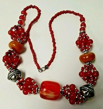 """BRIGHT BOLD CHUNKY ORANGE BEAD NECKLACE WITH SILVER TONE SPACERS 24"""" - $18.55"""
