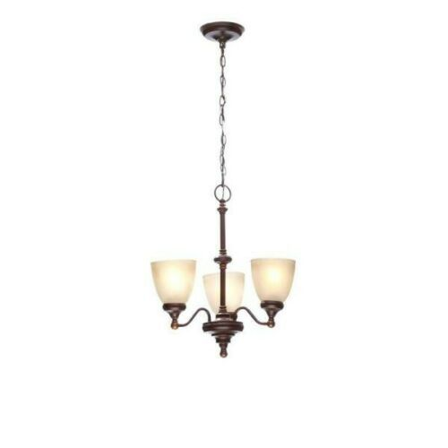 Primary image for NEW HAMPTON BAY Bristol 3-Light Nutmeg Bronze Reversible Chandelier with Tea-Sta
