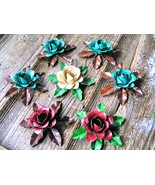 7 metal rose flowers and leaves for accents, embellishments, crafting, j... - $47.23