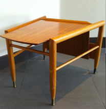 BROWN SALTMAN Wedge Table magazine rack J Keal Danish Modern Eames LOCAL... - $579.49