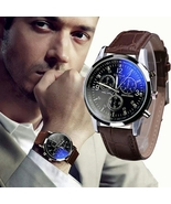 Fashion Faux Leather Mens Analog Quarts Watches Blue Ray 2018  Top Brand... - $14.99
