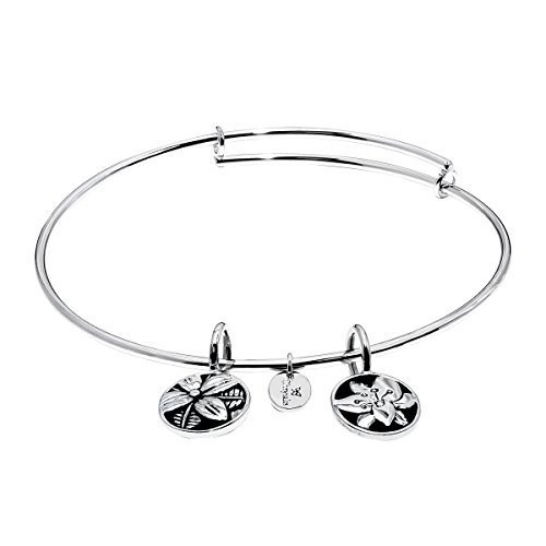 Chrysalis 'Blossom' Expandable Bangle Bracelet in Rhodium-Plated Brass